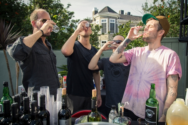Jason, Brennivin America's one man West Coast office; Leifur from Cassette Recordings; Spiegel; and Icelandic musician Sin Fang taking Brennivin shots at the Made In Iceland VII party in L.A. earlier this month.