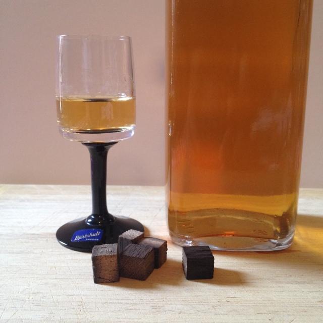 Glass of Oak Infused Brennivin