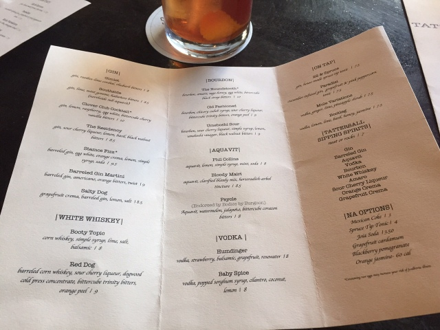 Tattersall Cocktail Menu