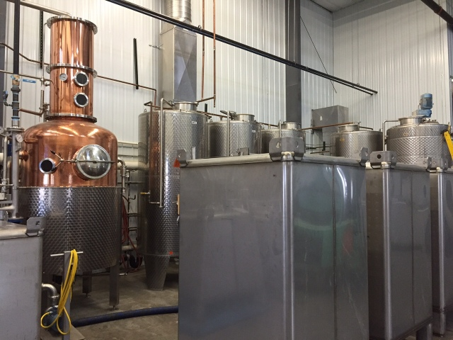 The second Carl still was added last fall. The new fermenters are the square steel containers in the foreground.